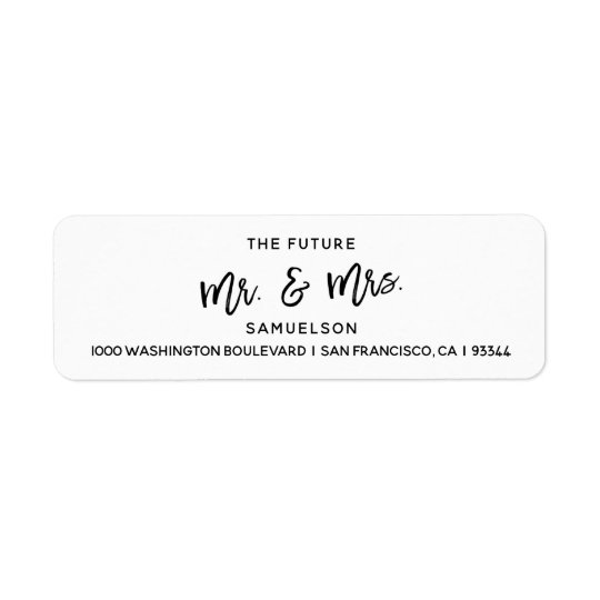 Black White Future Mr & Mrs Wedding Return Address Return Address Label
