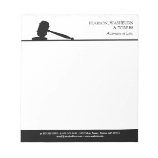 Black & White Gavel Attorneys at Law Notepad