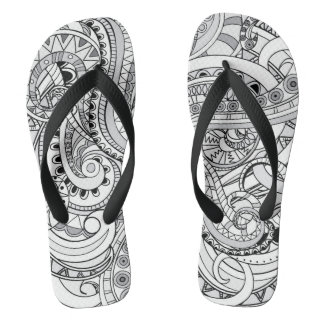 black&white geometric aztec pattern thongs