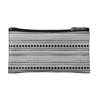 Black/White Geometric Boho Ethnic Print Makeup Bag