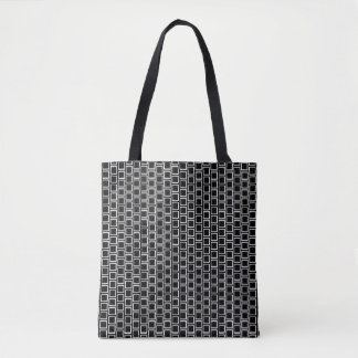 Black & White Geometric Brick Pattern Tote Bag