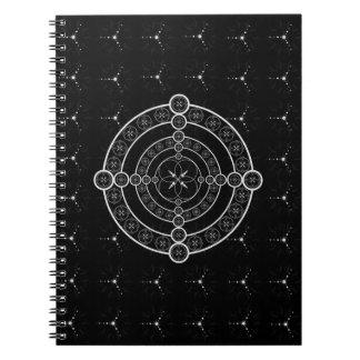 Black White Geometric Crop Circle Spiral Notebooks
