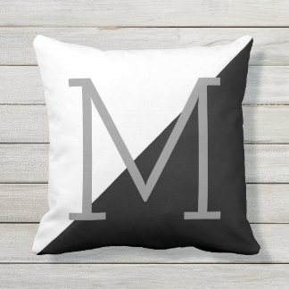 black & white geometric cushion