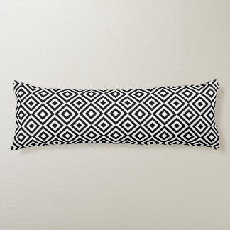 Black & White Geometric Diamond Pattern Body Cushion
