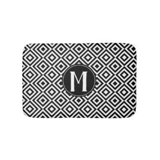 Black & White Geometric Diamonds with Monogram Bath Mat