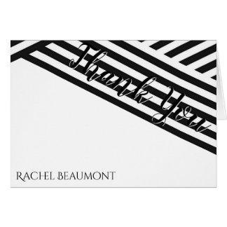 Black White Geometric Graduation Thank You card