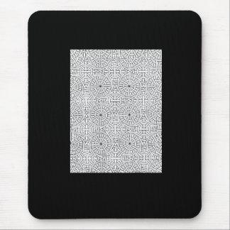 Black White Geometric Pattern Mouse Pad
