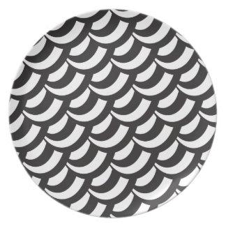 Black & White Geometric Pattern Plate