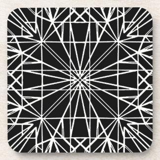 Black & White Geometric Symmetry Coaster