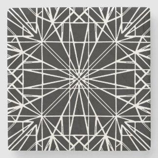 Black & White Geometric Symmetry Stone Coaster