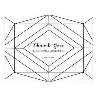 Black & white geometric Thank You Card