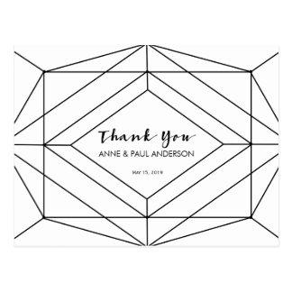 Black & white geometric Thank You Card Postcard