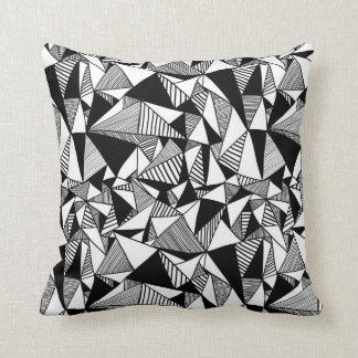 Black & White Geometric Throw Pillow