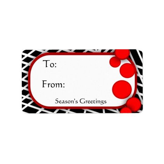 Black White Geometric with Red Dots Gift Tags Address Label