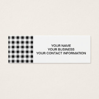 Black White Gingham Pattern Mini Business Card