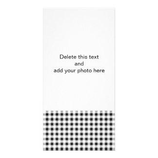 Black White Gingham Pattern Photo Greeting Card