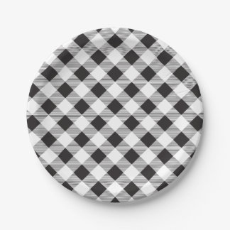 Black & White Gingham Pattern, Picnic, BBQ Paper Plate