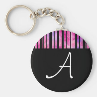 Black & White Girly Lines Keychain