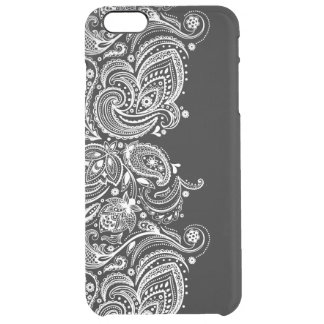 Black & White Girly Paisley Lace Design GR3 Clear iPhone 6 Plus Case