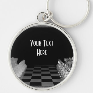 Black & White Glass Chess Board Game Key Ring