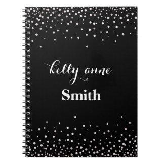 Black White Glitter Faux Foil Glamorous kraft Spiral Notebook
