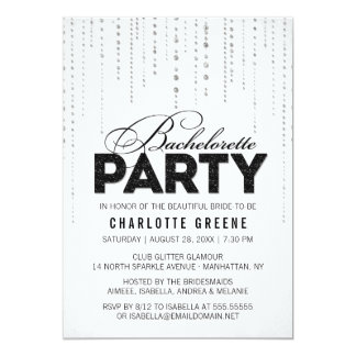 Black & White Glitter Look Bachelorette Party Card