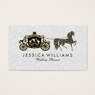 Black White & Glitter Wedding Horse & Carriage