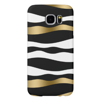 Black White & Gold Abstract Zebra Stripes Samsung Galaxy S6 Cases