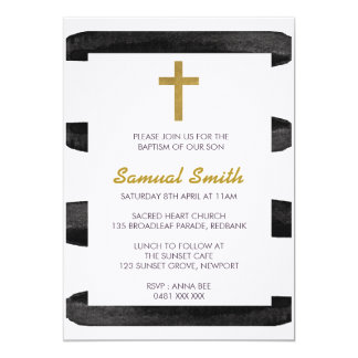 Black White Gold  Baptism / Christening Invitation