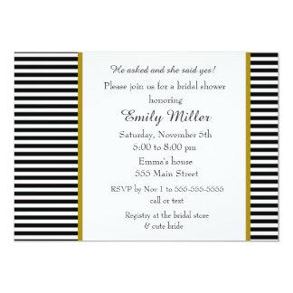 Black White Gold Bridal Shower Invitation