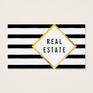 Black, white, gold business card