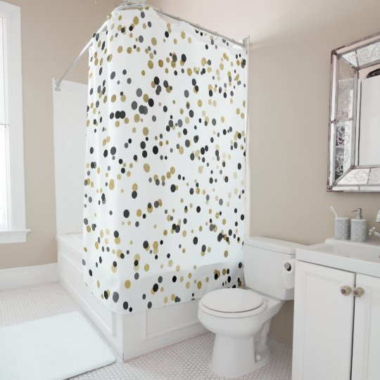 Black White Gold Confetti  Dots  Minimal Chic Glam Shower Curtain