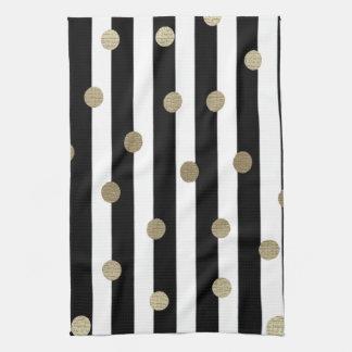 Black, White & Gold Dot & Stripe Tea Towel