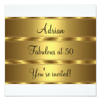 Black White & Gold Fabulous 50th Birthday Party 2 Card