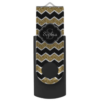 Black White Gold Glitter Chevron Pattern USB Flash Drive
