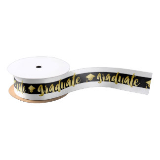 Black White & Gold Graduation Caps Satin Ribbon
