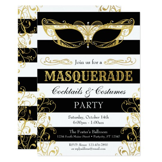 Black White & Gold Masquerade Mask Costume Party Card