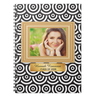 Black White Gold Photo Graduation Year Notebook