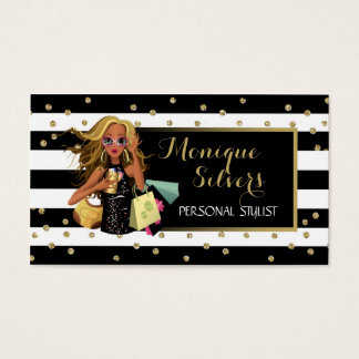 Black & White/Gold Savvy Shopper Business Card