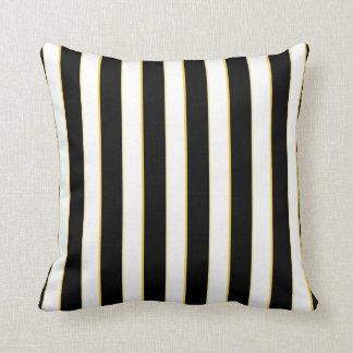 Black, White, Gold Striped Pattern Pillow
