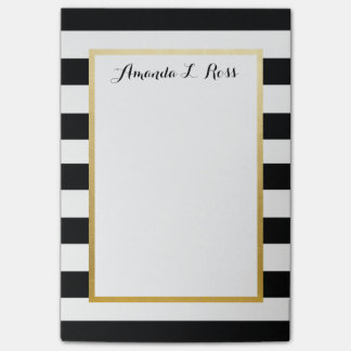 Black, White, Gold Striped Post it Note Pad