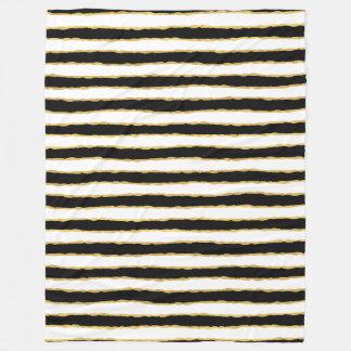 Black White Gold Stripes Fleece Blanket