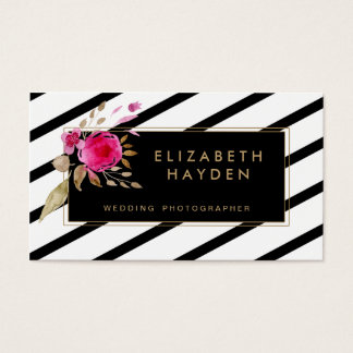 black white gold stripes Floral business card
