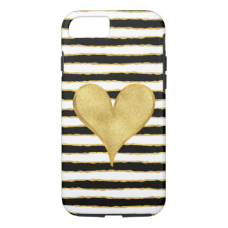 Black White Gold Stripes Heart iPhone 8/7 Case