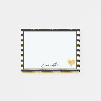 Black White Gold Stripes Heart Post-it Notes