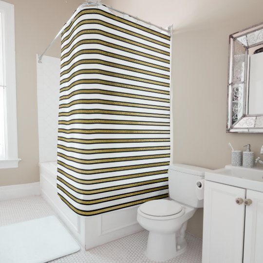 Black White Gold Stripes Lines Minimal Chic Glam Shower Curtain