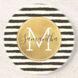 Black White Gold Stripes Monogram Coaster