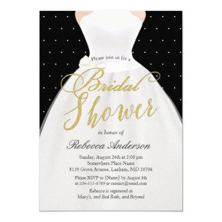 Black White Gold Wedding Dress Bridal Shower Card