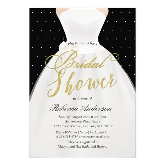 Black White Gold Wedding Dress Bridal Shower Card