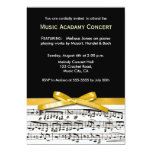 Black white & gold yellow musical concert recital personalised invitations